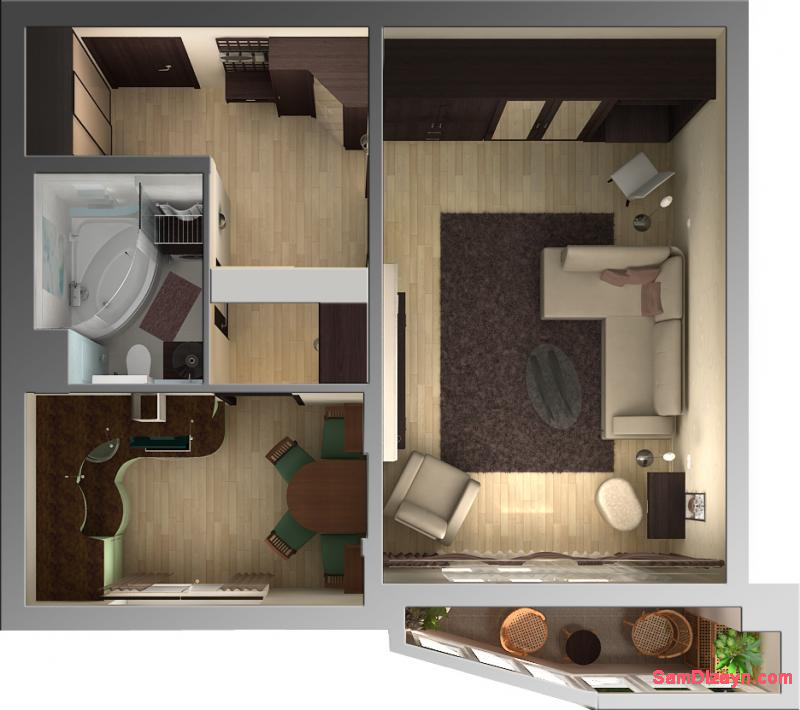 квартиры , Дизайн интерьера ...: samdizayn.com/dizayn-odnokomnatnoy-kvartiri/16-dizajn-odnokomnatnoj...